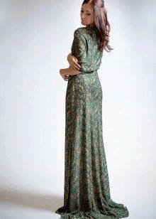 Вечернее зеленое платье в стиле нюд