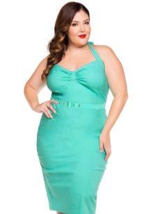 Зеленое платье для полных