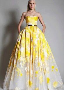 Пышное вечернее платье желтое