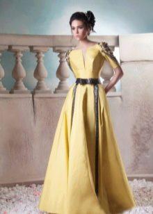 Платье вечернее желтое с черными кожаными вставками