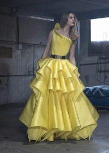 Пышное вечернее платье желтое от Изабель Санчес