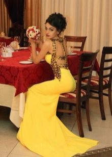 Платье вечернее желтое