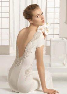 Атласное платье свадебное с открытой спиной