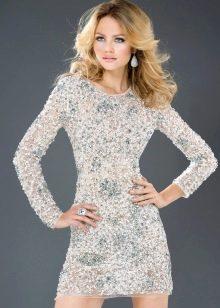 Платье вечернее с рукавами для танцпола белое