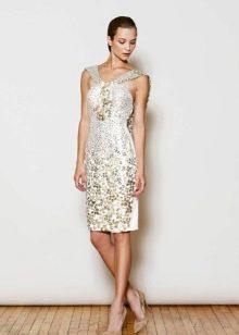 Платье вечернее короткое белое со стразами