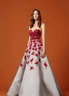 Бело-красное вечерние платье