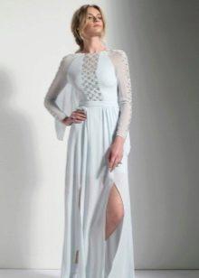 Белое вечернее платье с разрезом и прозрачными вставками
