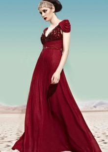 Бордовое платье вечернее в греческом стиле