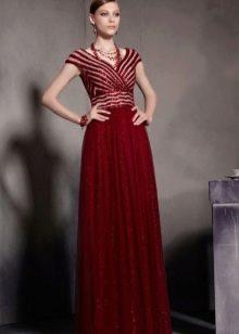 Платье бордовое с завышенной талией