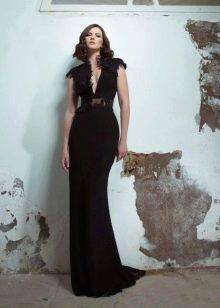 Черное элегантное  вечернее платье прямое в пол