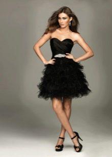 Короткое пышное вечернее платье черное