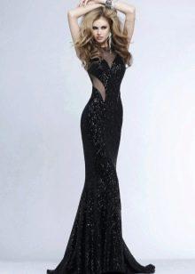 Вечернее платье с вырезом на боках черное