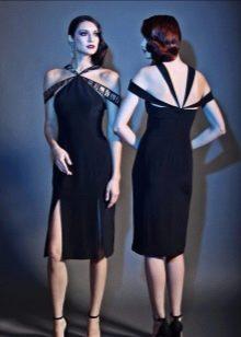 Вечернее платье с разрезом короткое черное