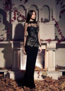 Платье черное с кружевным верхом вечернее