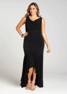 Вечернее платье для полных черное с ассиметричной юбкой