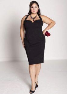Вечернее платье футляр для полных без рукав черное