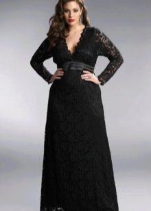 Кружевное черное вечернее платье в пол для полных