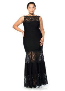 Частично кружевное черное вечернее платье в пол