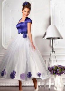 Свадебное платье белое с синим