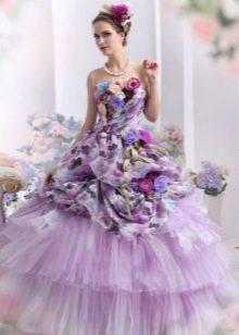 Фиолетовое свадебное платье с рисунком