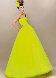 Свадебное платье кислотно желтого цвета