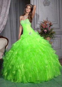 Свадебное платье кислотно зеленого цвета