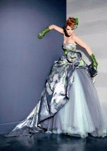 Свадебное пышное платье цвета асфальта