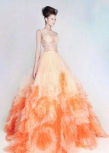 Свадебное платье нежного пастельного цвета