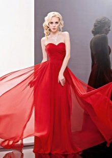 Красное свадебное платье из шифона