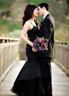 Свадебное платье черное русалка