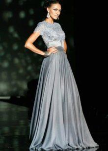 Свадебное платье в пол металлического цвета