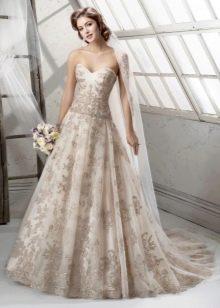 Свадебное платье цветное кружевное