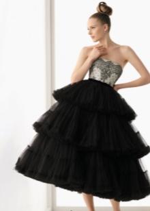 Пышное короткое черное свадебное платье