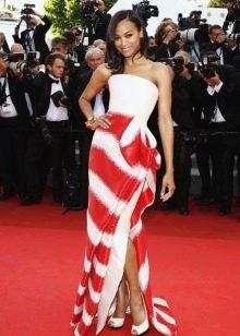 Бело-красное вечернее платье от Армани