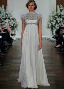 Свадебное платье в стиле ампир со стразами