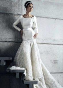 Свадебное платье русалка с рукавом