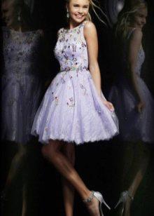 Вечернее пышное платье фиолетовое коротеое