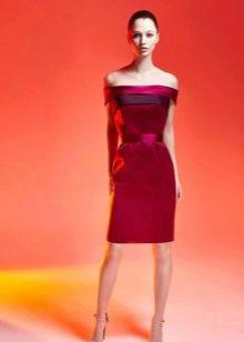 Красное вечернее платье короткое из атласа