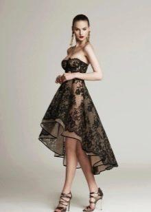 Короткое кружевное вечернее платье длинное сзади