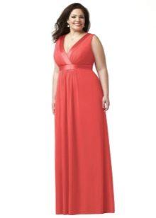 Красное платье в пол для полных
