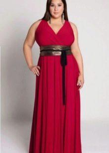 темно-красное вечернее платье для полных
