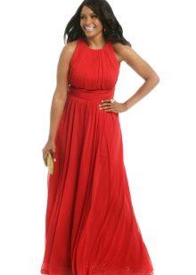 Красное вечернее платье для полных с американской проймой
