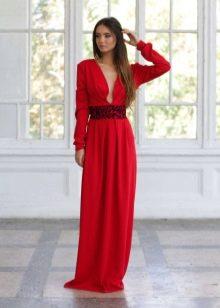 Вечернее платье красное с рукавами