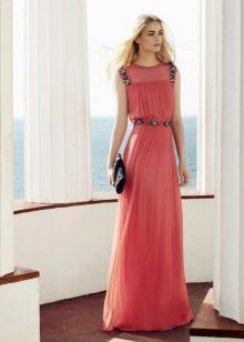Красное вечернее платье с юбкой плисе