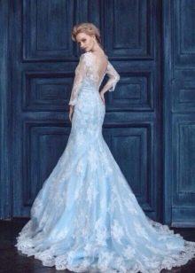 Свадебное платье голубое с кружевом