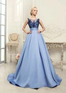Свадебное платье с синим кружевом