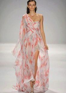 Платье вечернее из шифона с цветочным мотивом
