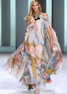 Шифоновое платье вечернее с цветочным мотивом