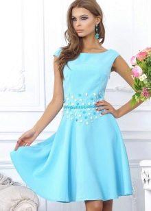 Голубое вечернее платье из хлопка