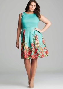 Синее вечернее платье для полных из хлопка